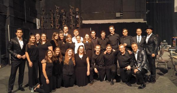 The Briercrest Choir backstage with The Tenors at the Conexus Arts Centre.